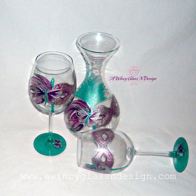 Custom Made Masquerade Hand Painted Wine Glasses & Decanter Set