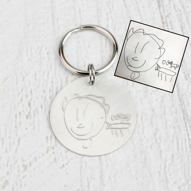 Custom Made Actual Engraved Drawing Keychain, Sterling Silver