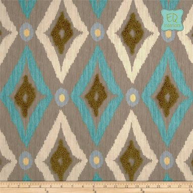 "Custom Made Custom Designer Curtain Panels Robert Allen Modern Ikat In Pool Blue 96""L X 50""W"