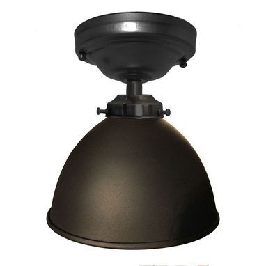 "Custom Made Factory 7"" Dome Metal Flush Mount Light- Black"