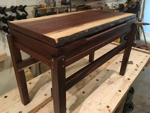 Custom Made Solid Black Walnut Piano Bench With Live Edge And Minimalist Modern Styling