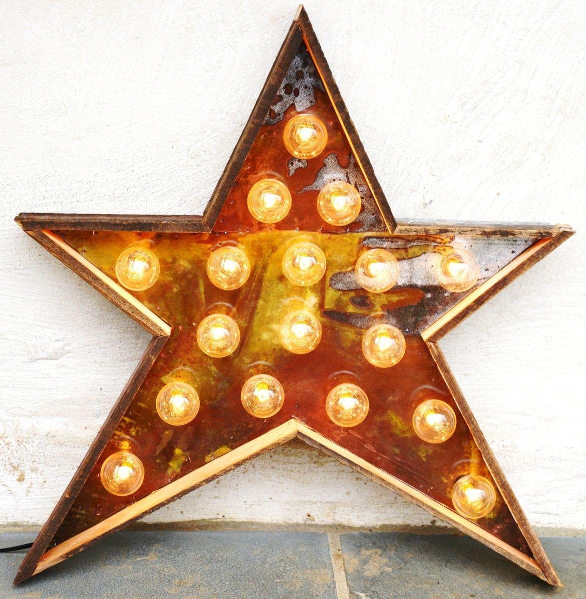 Hand crafted star light fixture metal sign reclaimed barn wood 24 custom made star light fixture metal sign reclaimed barn wood 24 inch diameter arubaitofo Choice Image