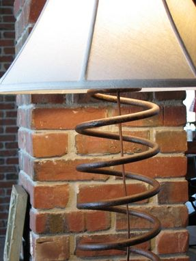 Custom Made Reclaimed Metal Table Lamp With Linen Shade