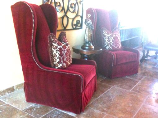 Custom Made Tall Wingback Chairs