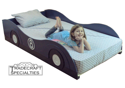 Custom Made Stylized Sportscar Twin Kids Bed Frame - Handcrafted - Race Car Themed Children's Bedroom Furniture
