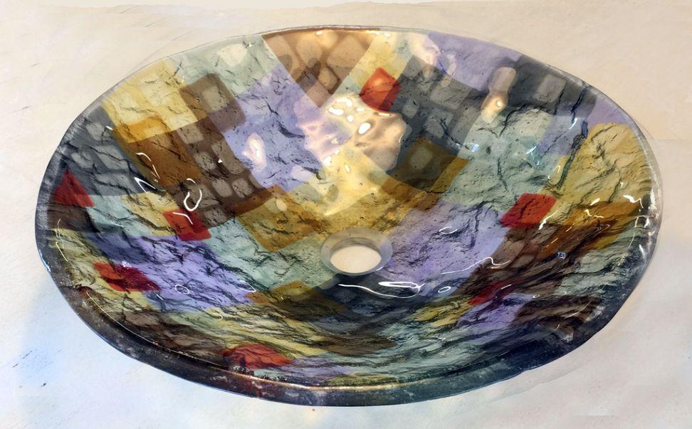 Custom Art Deco Style Glass Vessel Sink By Stouffer