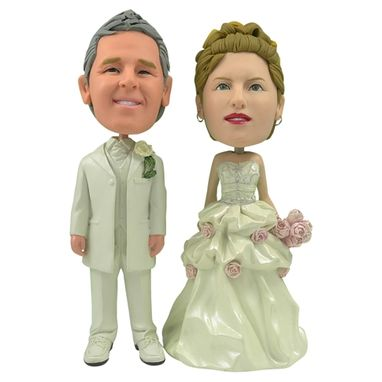 Custom Made Personalized Wedding Cake Topper Of A Rosy Couple