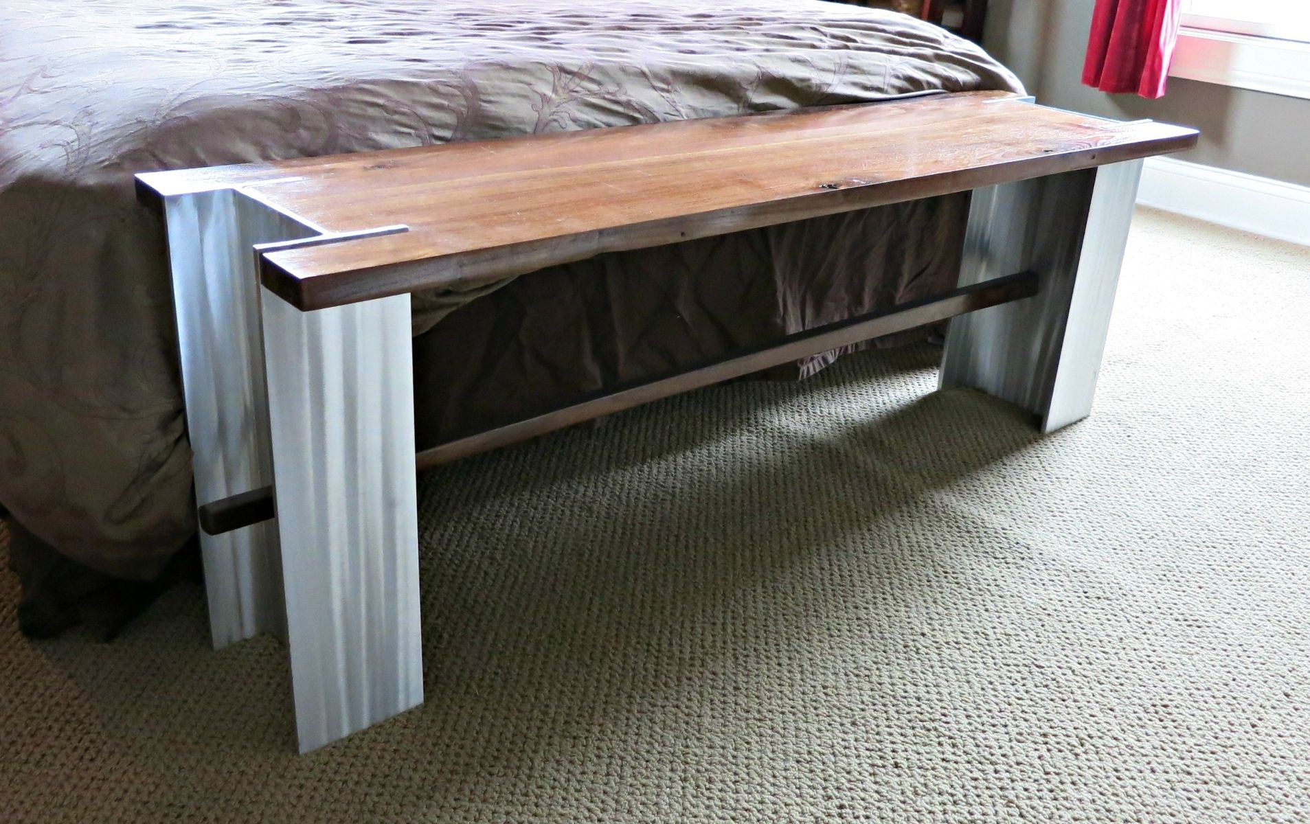 Custom Aluminum I Beam And Walnut Bench By Donald Mee