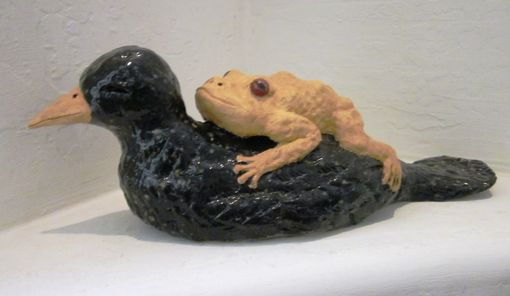 Custom Made Ceramic Frog On Raven