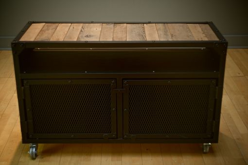 Custom Made Urban Industrial Steel And Reclaimed Wood Cabinet On Wheels