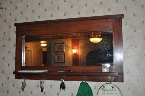 Custom Made Large Entry Mirror With Key Hooks And Shelf