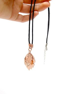 Custom Made Stamped Copper Necklace - Layered Copper Kinetic Pendant - Rustic Fashion Leaves Necklace
