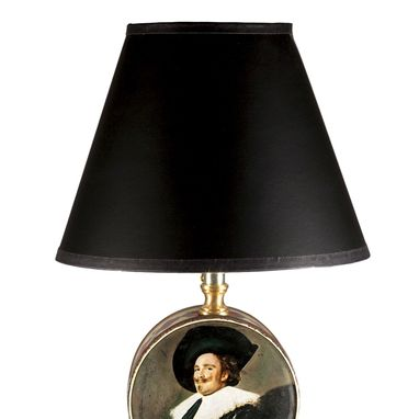 Custom Made Vintage Small Dutch Portrait Tin Lamp