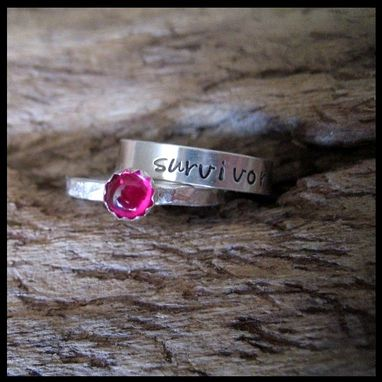 Custom Made Survivor Stacking Rings Awareness Hand Stamped Reclaimed Sterling Ruby