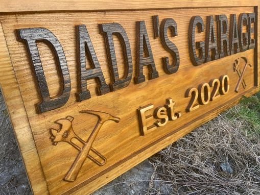 Custom Made Workshop Wood Sign Garage Sign Personalized Man