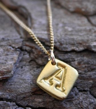 Custom Made 22k Gold Initial Curb Chain Necklace - $430