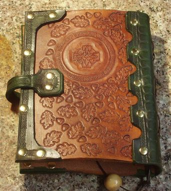 Custom Made Handcrafted Antiqued Green & Brown Leather Blank Book With Oak Leaf Tooling