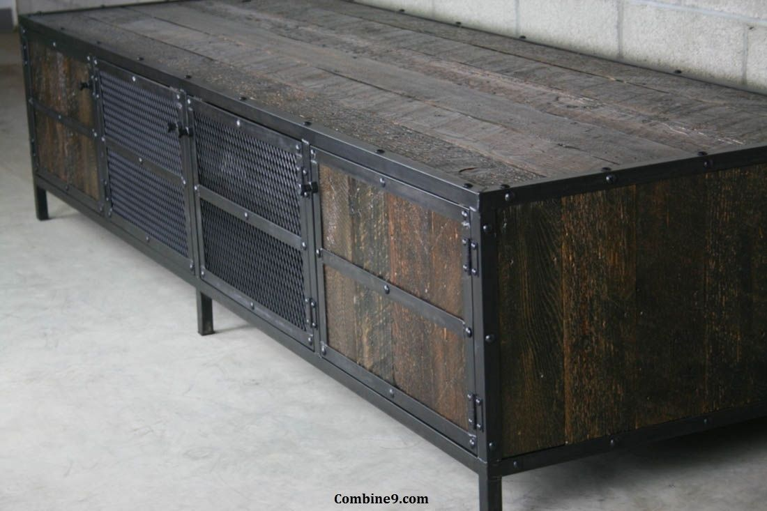 Buy a custom media console credenza vintage industrial for Buy reclaimed wood online
