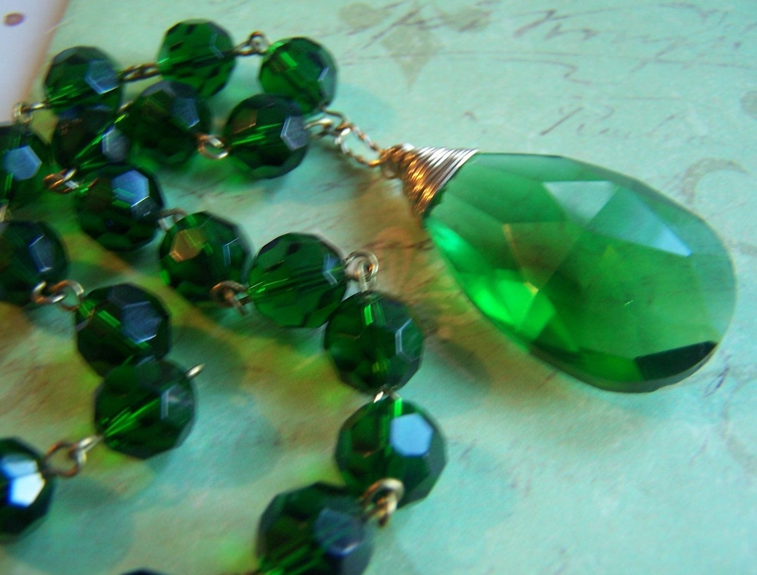 Hand Made Emerald Green Necklace Faceted Prisms