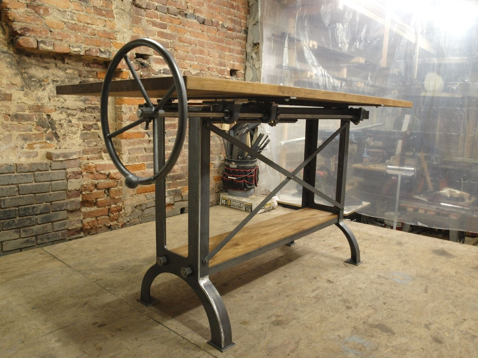 custom stand up industrial drafting table with oak top by camposironworks. Black Bedroom Furniture Sets. Home Design Ideas