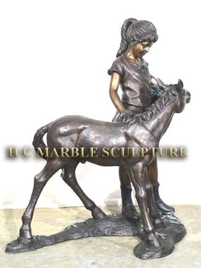 Custom Made Girl With Precious Pony, Bronze Sculpture