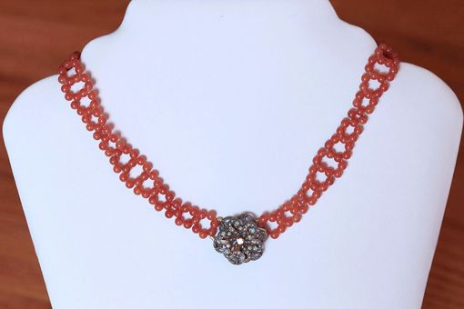 Custom Made Hand Woven Enamel & Diamond Forget Me Not Necklace With Orange Chalcedony Beads