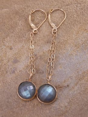 Custom Made Labradorite Rose Cut Earrings Set In 14 Kt Yellow Gold Or Sterling Silver