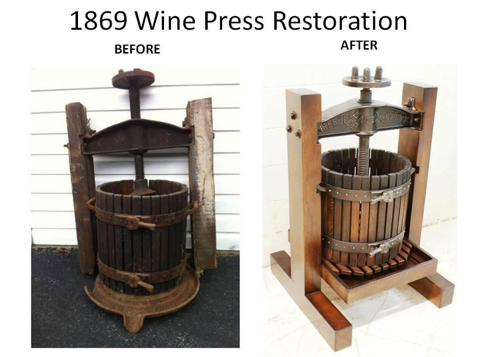Hand made antique wine press restoration reproduction by for Home wine press