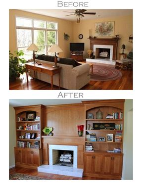 Custom Made Built-In Bookcases - Fireplace Surround