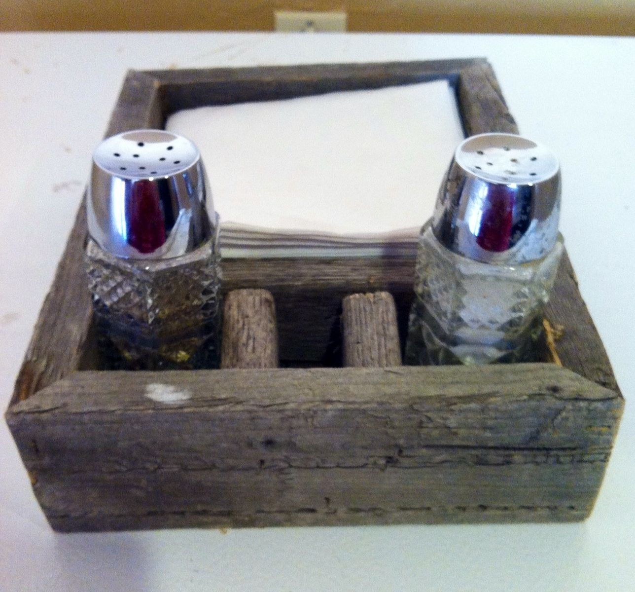 Top Handmade Reclaimed Barn Wood Napkin And Salt And Pepper Holder by  UR63