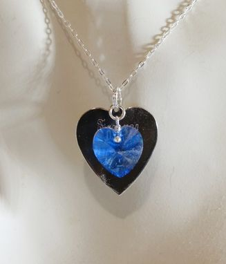 Custom Made Heart Necklace - Sterling Silver Or Gold Engraved Heart & Swarovski Crystal Heart Necklace