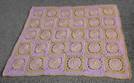 Custom Made Circles In Squares Crochet Baby Blanket
