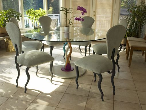 Custom Made Lotus Dining Table With Calamari Chairs