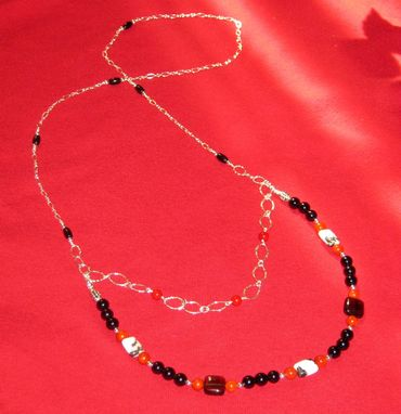 Custom Made Red Coral,Onyx And Zebra Jasper Gem Necklace- Free Shipping