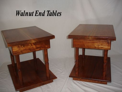 Custom Made Custom Built Paired Walnut End Tables