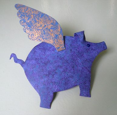 Custom Made Christmas Tree Topper Metal Art When Pigs Fly Blue Purple Gold 9 X 11