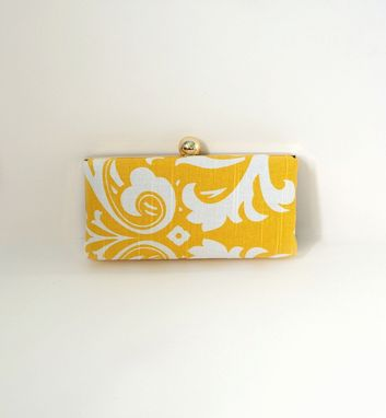 Custom Made Yellow Cotton Damask Clamshell Clutch Purse