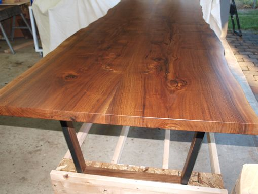 Custom Made Live Edge Walnut Table And Bench