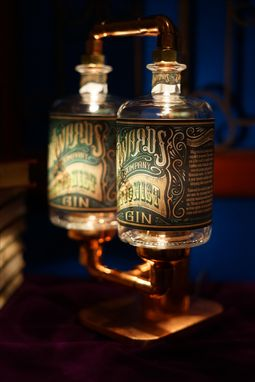 Custom Made Table Lamp, Desk Lamp, Custom Gin Bottle Lamp