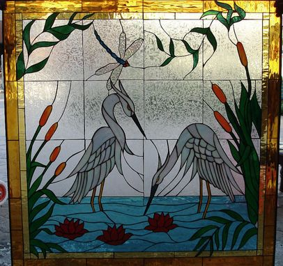 Custom Made Exquisite Herons/Egrets & Water Lillies Stained Glass Window