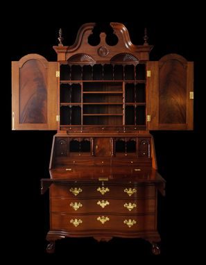 Custom Made Secretary Desk, Upper Bookcase, Solid Mahogany