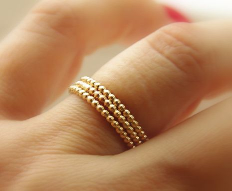 Custom Made 14k Gold Filled Dotted / Beaded Stackable Rings (Eternity Bands) Made To Order Set Of 3