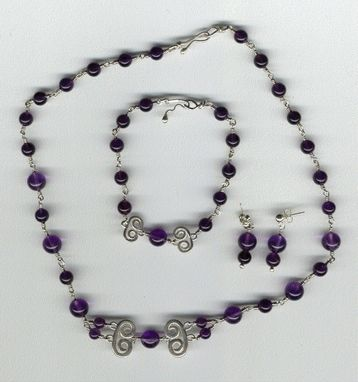 Custom Made Custom Amethyst And Sterling Necklace Set
