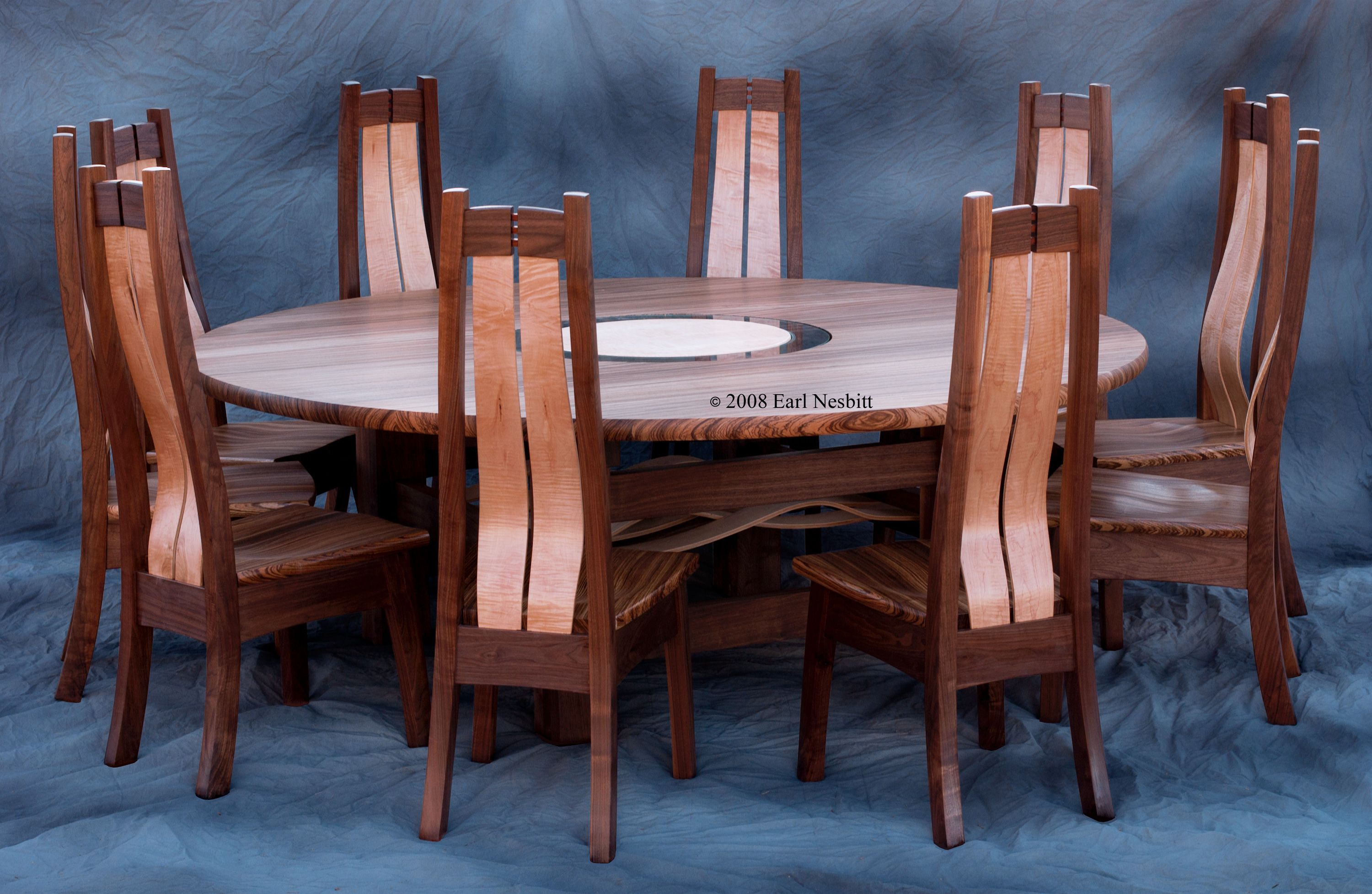 Handmade Round Dining Table Conference Table With 10 Chairs by