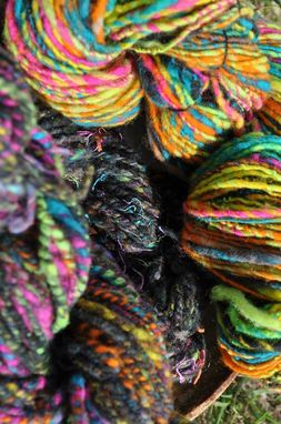 Custom Made Cormo Shetland Multi-Colored Yarn 3 Skeins Hand Dyed Handspun