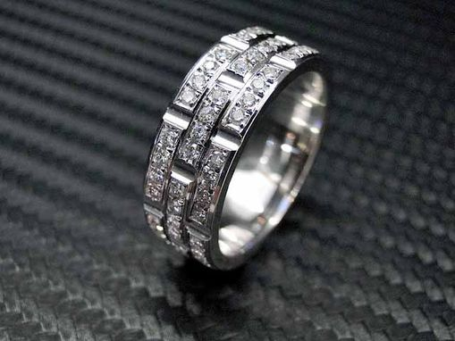 Custom Made 14k White Gold Mens Diamond Wedding Band / Engagement Ring