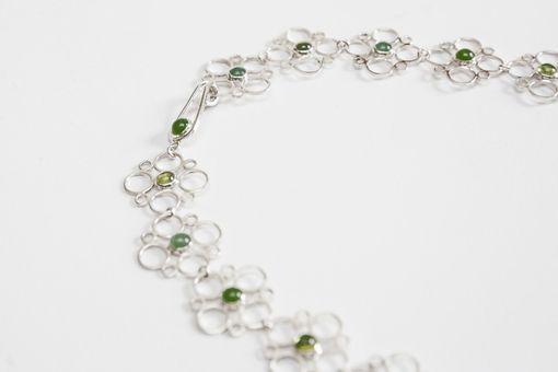 Custom Made Sterling Silver Jax Necklace With Peridot, Jade, & Aventurine Cabochons