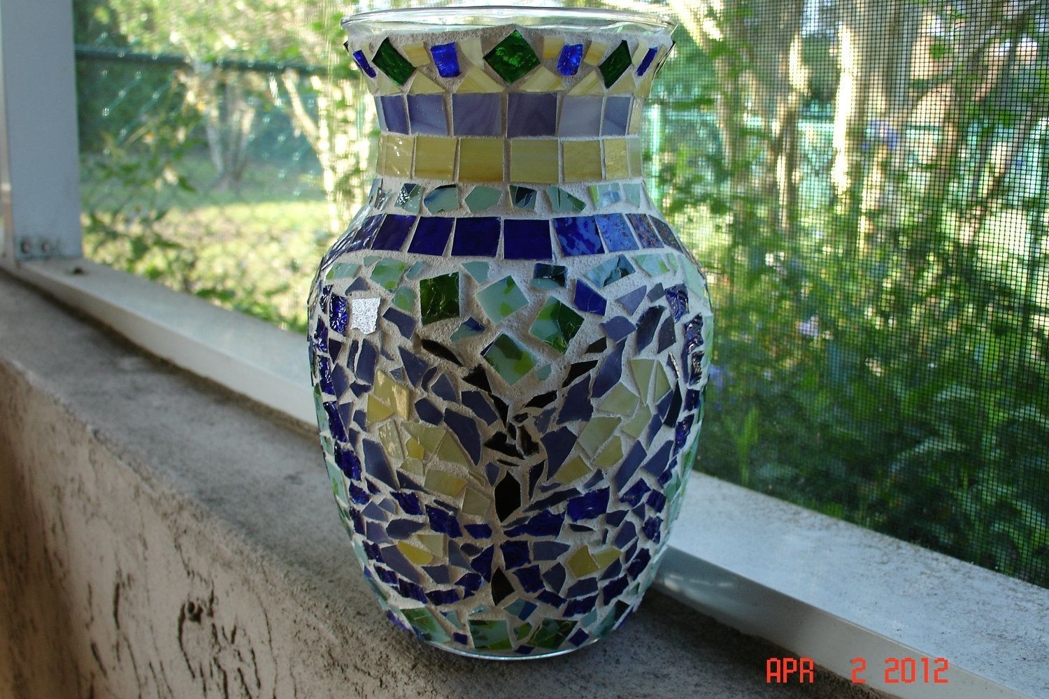 Buy a hand made stained glass mosaic vase candle holder custom made stained glass mosaic vase candle holder springtime in blues greens purple reviewsmspy