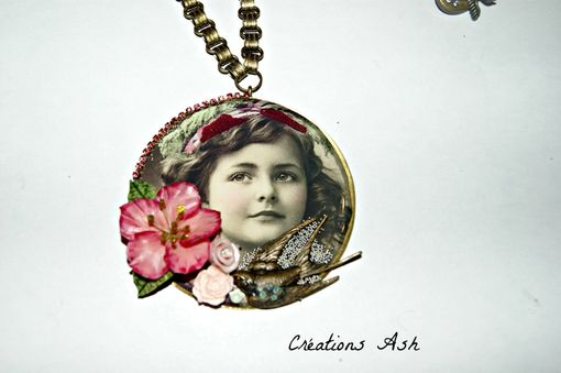 Custom Made Ooak Necklace - Brass Plate, Resin, Shabby Chic, Handmade