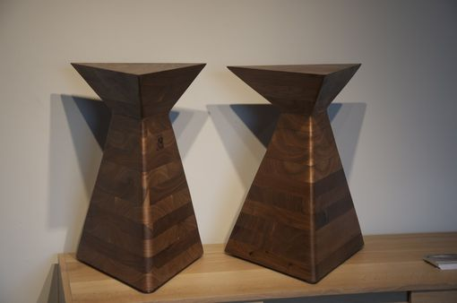 Custom Made Hand Carved Solid Walnut Side Tables